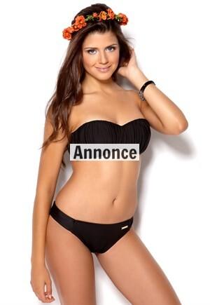 sort bandeau bh og bikini top