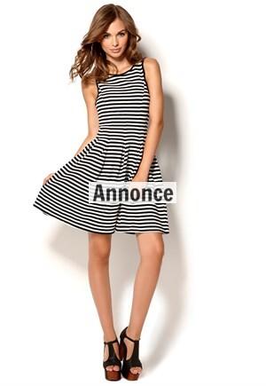 sort og hvid stribet kjole til kvinder